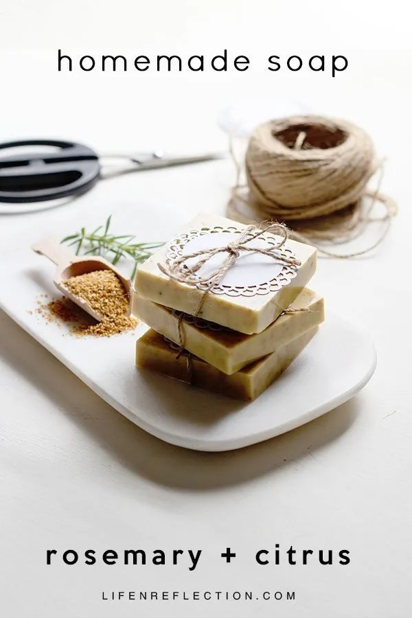 A simple and sweet diy gift idea, rosemary and citrus handmade soap
