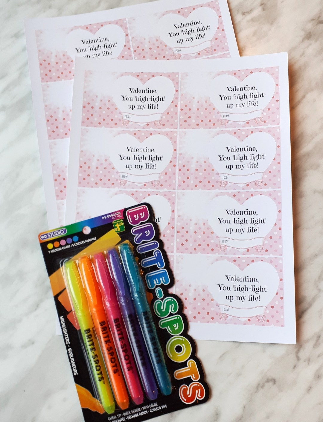 Grab a few packs of highlighter markers from the dollar store for these funny free printable DIY valentines!