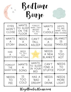 Toddler bedtime bingo cards for exhausted parents. Turn tiresome bedtime routines into a fun game to play with your spouse.
