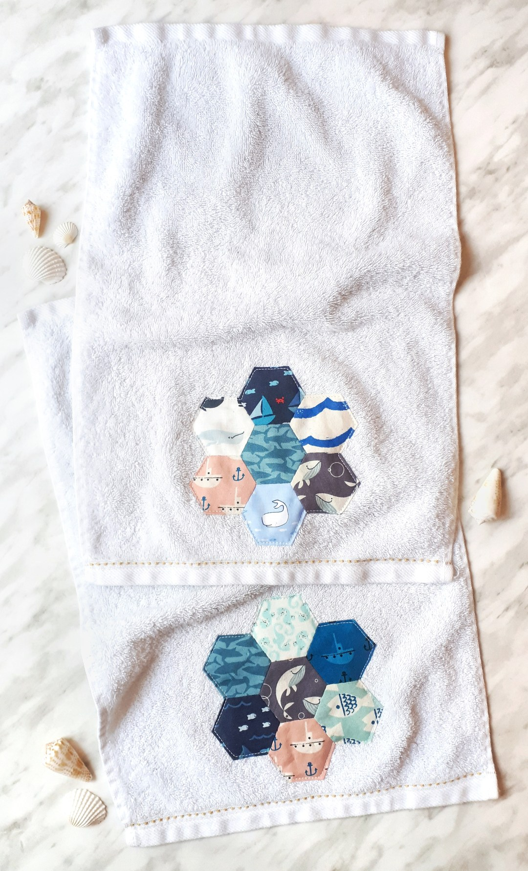 DIY some cute hand towels with this simple scrap busting project. Upcycled hand towels using english paper pieced hexies.