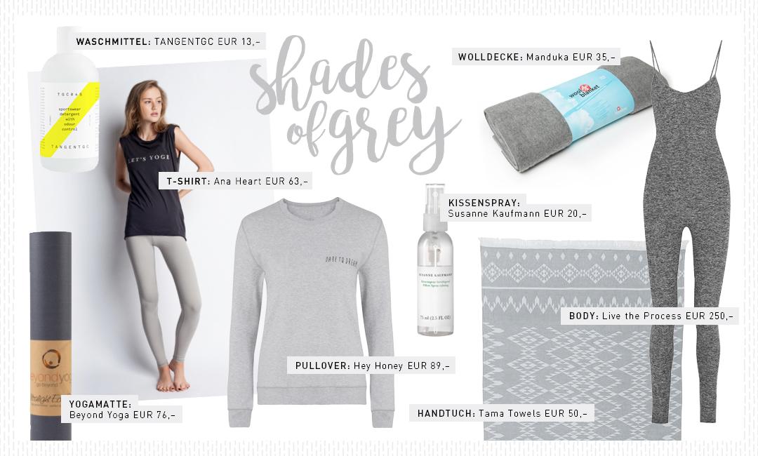 Yogi's Essentials – Shades of Grey – Grau – Produkte – Auswahl – Favoriten – Kleidung – Fashion – Towel – Shirt – Yoga Matte – Lieblinge