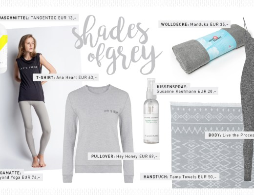 Yogi's Essentials – Shades of Grey – Grau – Produkte – Auswahl – Favoriten – Kleidung – Fashion – Towel – Shirt – Yoga Matte – Lieblinge