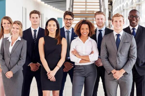 Group of business people dressed smartly