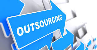 "Arrow pointing towards ""outsourcing"""