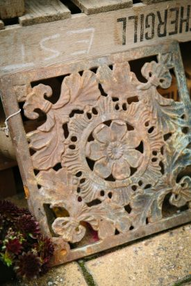 Stunning Decorative Ironwork with Floral Decoration. Beautiful patination and with so many uses in the garden or home.