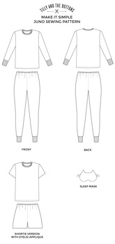Line Drawing of Juno PJs by Tilly And The Buttons
