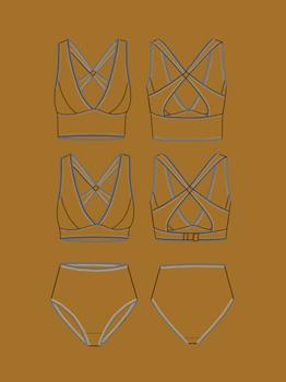 Line Drawing of Josie Bra And Panties By Handmade Wardrobe