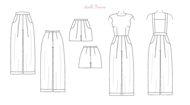 Line Drawing of Lucille Trouser Sewing Pattern