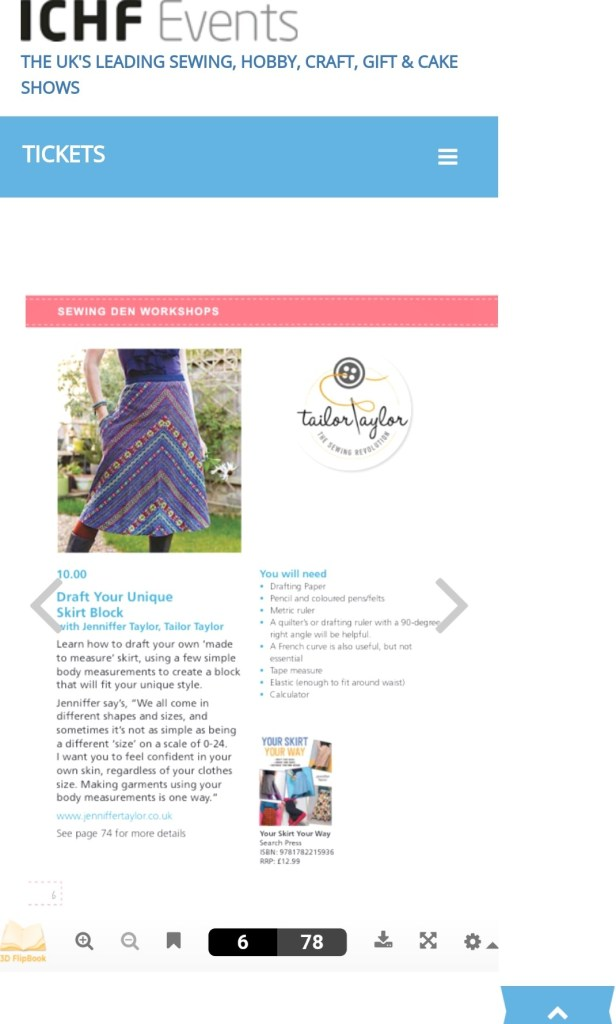 Screenshot of Craftfulness festival Jenni Taylor's tutorial details of drafting your own skirt block