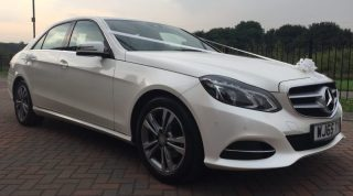 Luxury Mercedes E Class Wedding Car - Front Offside
