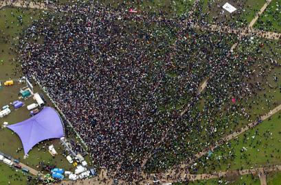 crowd from air