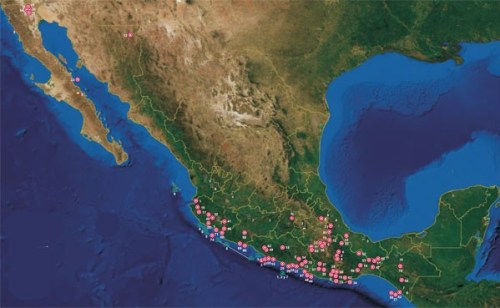 Locations of the 75 major earthquakes recorded between 1810 and 2010. (Photo: SEGOB)