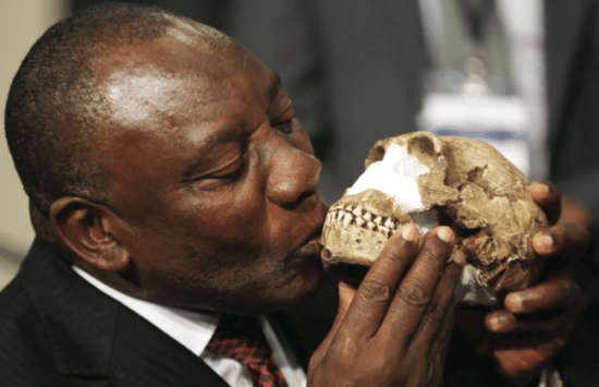Deputy President Cyril Ramaphosa kisses a skull reconstruction. (AP PHOTO_THEMBA HADEBE)