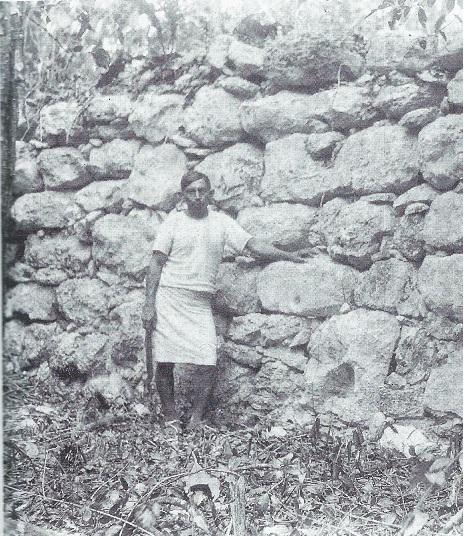 Coba Yaxuna sacbe at the point where it attains its maximum elevation 8 feet