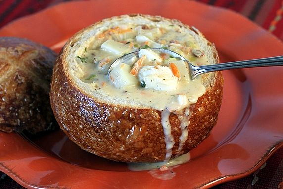 Image result for new england clam chowder bread bowl