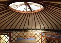 Inside 21 foot yurt