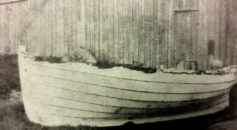 Bergholm's lifeboat, 'safely ashore'. (On display in Sunnmøre Museum).