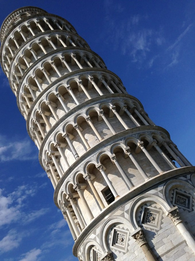 The leaning Tower of Pisa, Pisa in June, Band in Pisa, The Zoots visit Pisa, Photo of leaning Tower of Pisa in the sun