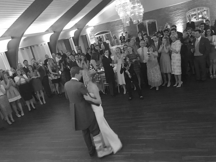 Lizzie and Will wedding, bride and groom first dance, groom broken ankle, colshaw hall, wedding in cheshire, april wedding, uk wedding, first dance,