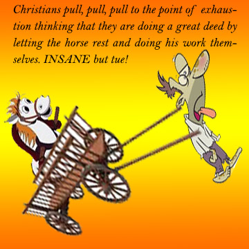 Christian pulling cart-and horse