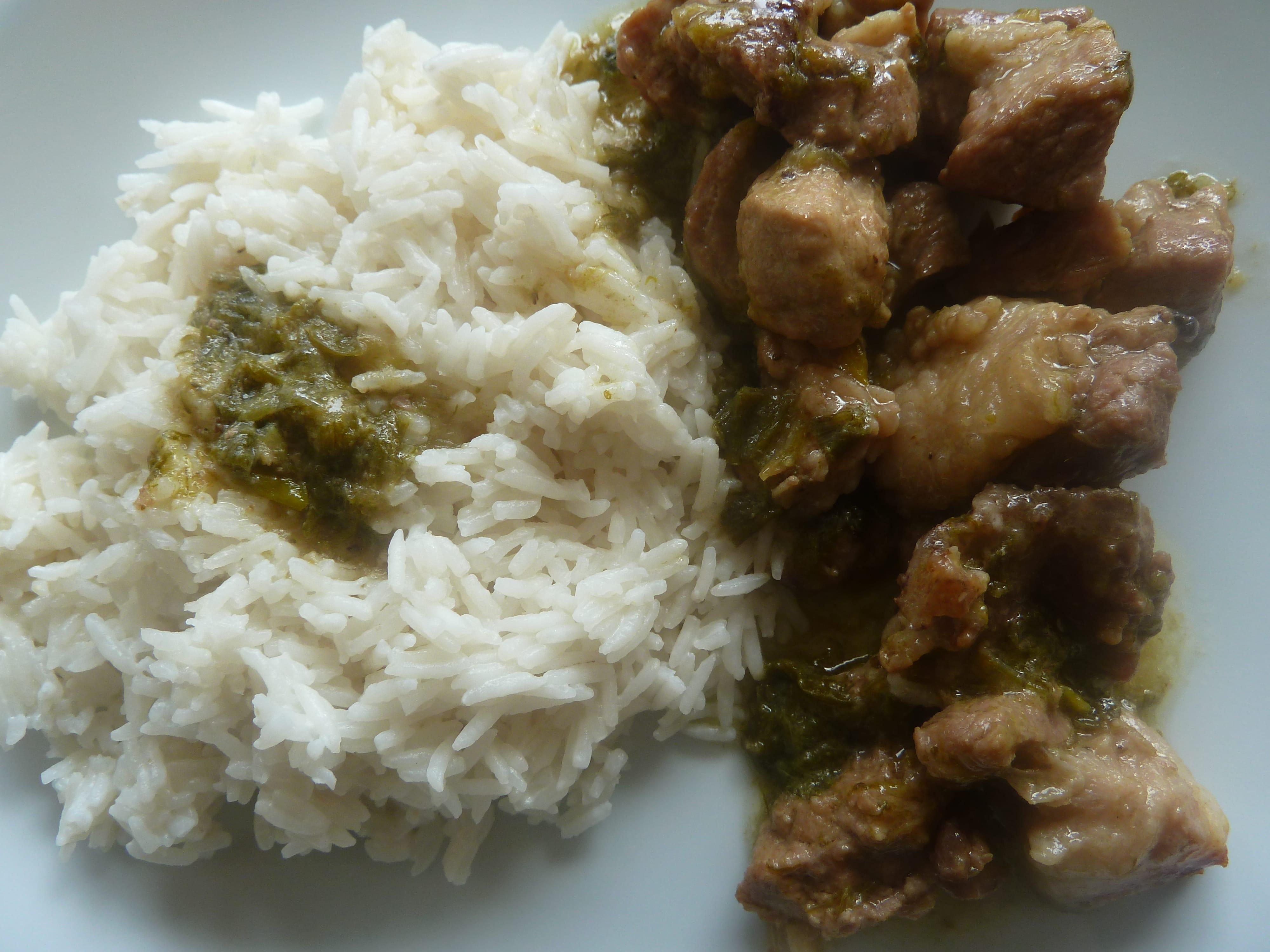 Plat de porc au riz coco