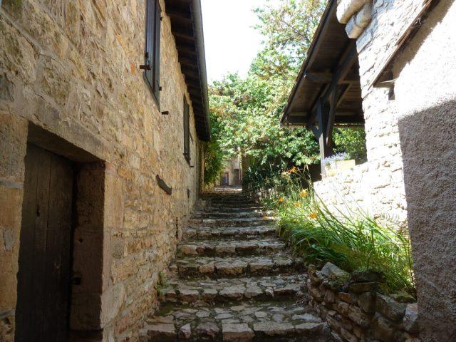 rue en escalier dans le village de Puycelsi dans le Tarn