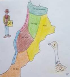 dessin carte du maroc, voyageur et outarde