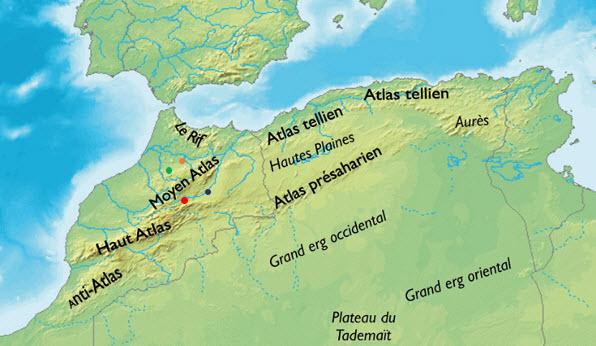 carte de l'Atlas au Maghreb