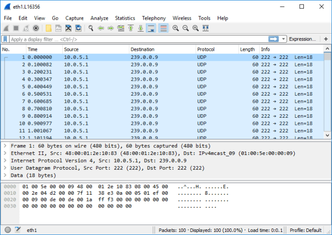 Wireshark Capture - Ostinato Drone (Multicast)
