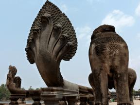 Nagas that guard the entrance to Angkor.
