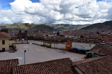 The basketball court at a local elementary school, with the Cusco Cathedral in the background.