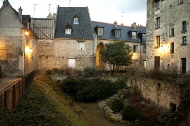 The courtyard of several houses in Tours.
