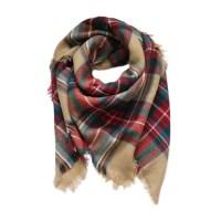 Beige Plaid Scarf | Blanket Scarf | Tartan Scarf | Flannel ...