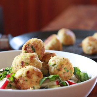 Crab Balls with Asian Noodle Salad