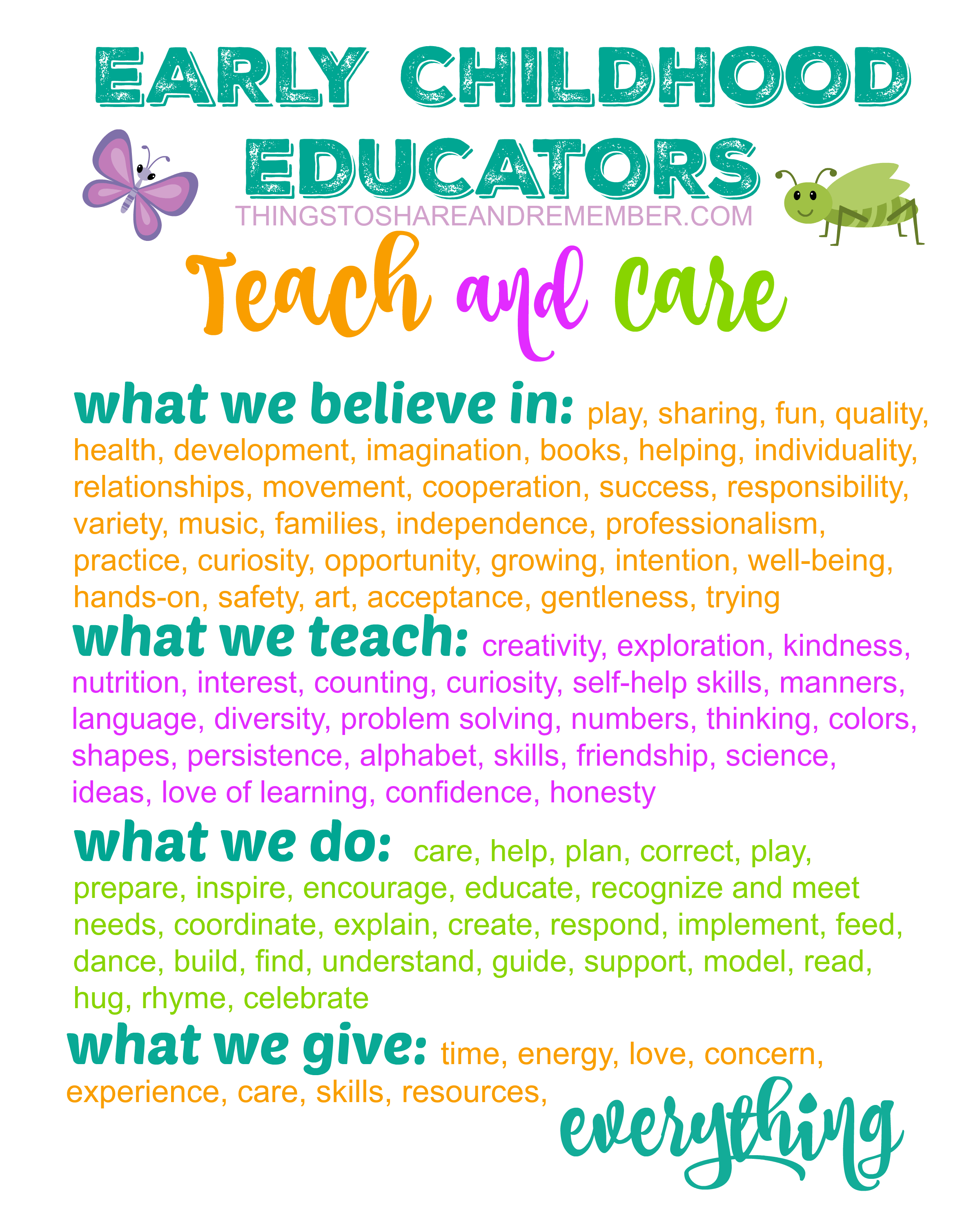 Early Childhood Educators Teach And Care Printable Poster