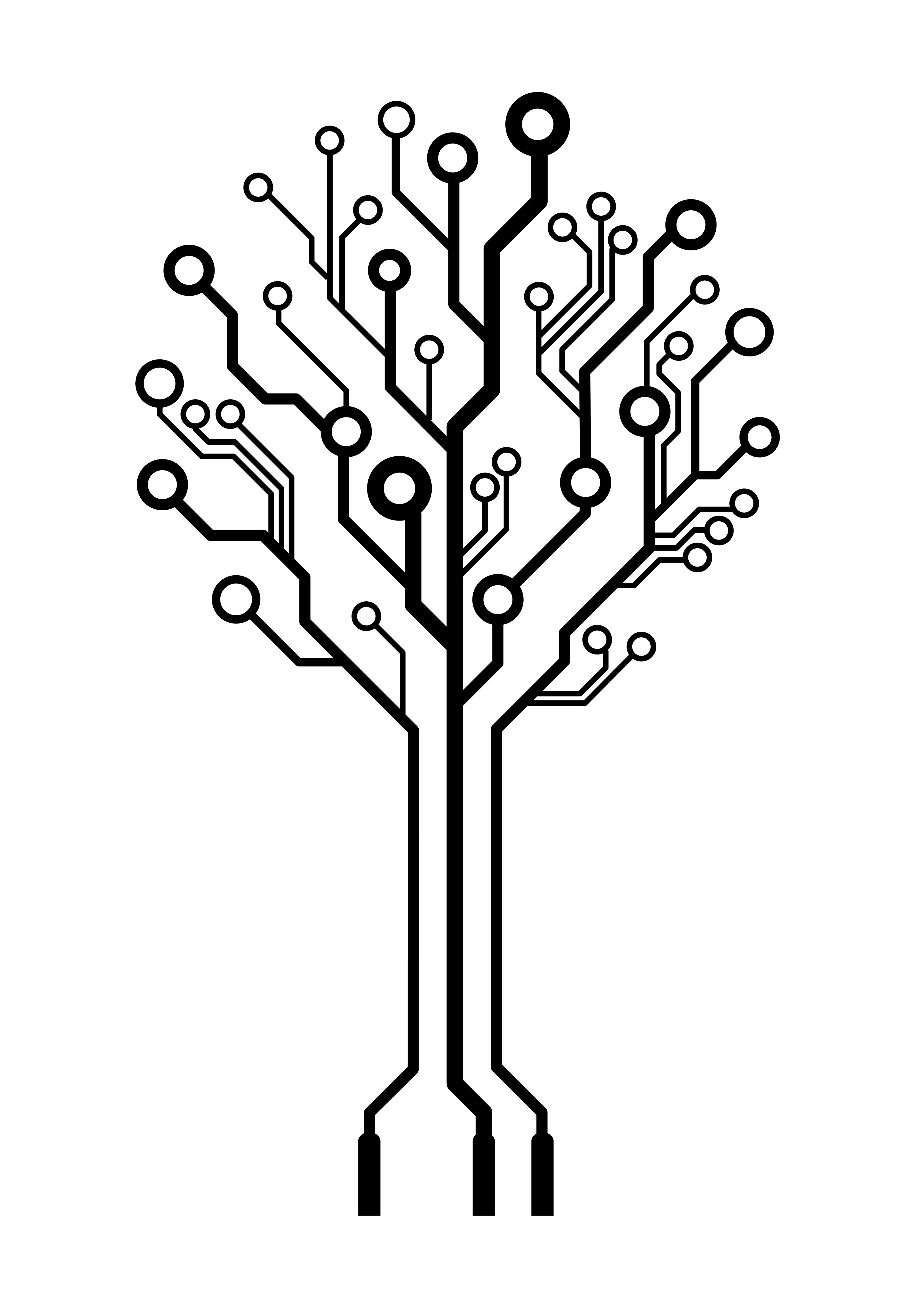 Vector Logo Circuit Board Tree Think3d