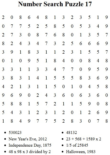 Free Puzzles To Print Number Search Puzzle 16