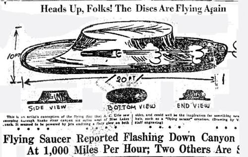 1947: Disc Zooms Down Snake River Canyon, Idaho