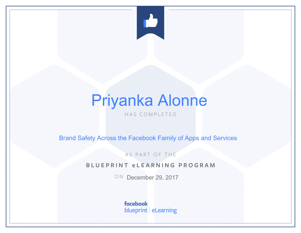 Facebook Blueprint Certification -Brand Safety Across the Facebook Family of Apps and Services by Priyanka Alone at ThinkCode.