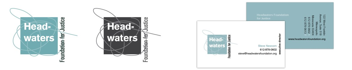Headwaters Foundation for Justice logo/ business card