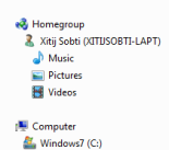 HomeGroups in the Explorer navigation pane