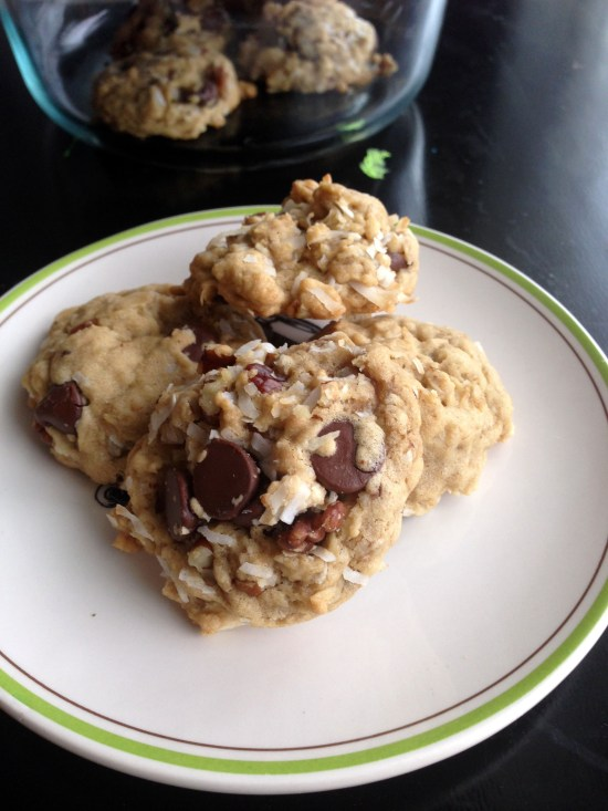 coconut oil oat chip cookies