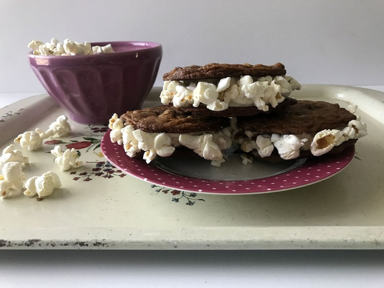 cookie ice cream sandwich with popcorn