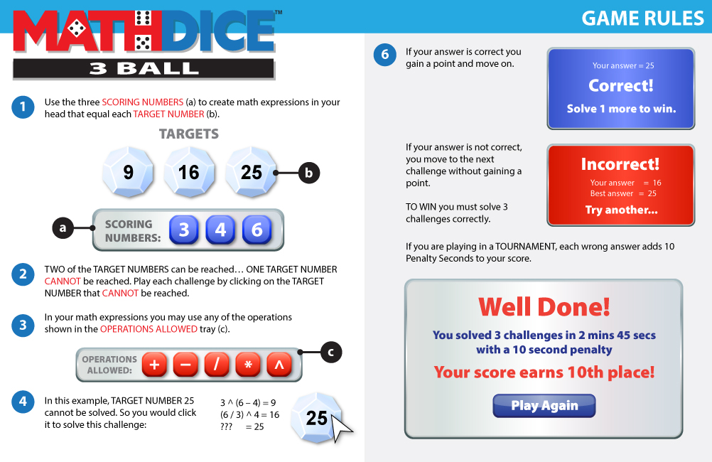 Math Dice 3 Ball Instructions