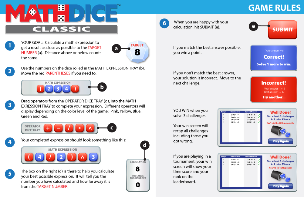 Math Dice Classic Instructions