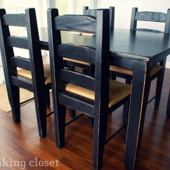 Distressed Black Dining Chairs Barrel Table And Makeover  The Thinking Closet