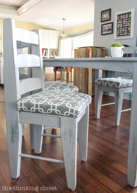 how much fabric to cover a chair cushion rocking ottoman covers reupholster seat the no mess method thinking dining diy tutorial full of tips and tricks