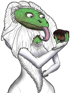 drawing of a lizard bride looking at a brownie