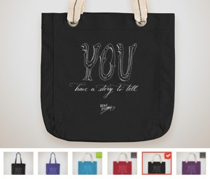 large image of black tote back with inset of other product/color choices