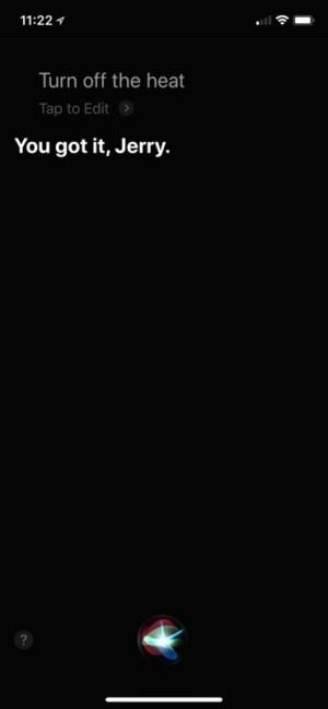 Siri, turn off the heat screenshot (Homekit, Nest)